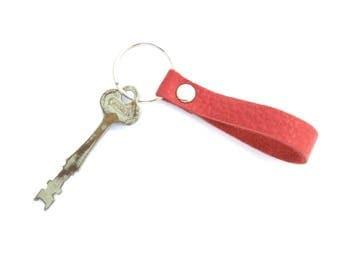 Red Leather Key Fob, Nautical Keychain, Red and Silver Key Ring, Red Nautical Leather, Leather Keychain, Unisex Gift, Gifts Under 15