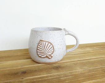 Pottery Mug, Stoneware Coffee Cup in Glossy White Glaze with leaf stamp