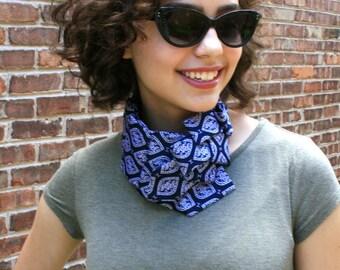 Necktie Scarf - Ascot Tie - Necktie Necklace - Women's Tie - Hipster Clothing - Upcycled Clothing - Vintage Tie - Work Wear - Navy Scarf. 49