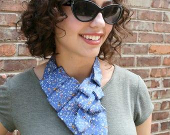 Memorial Gift - Ascot Tie - Work Wear - Hipster Clothing - Gift For Her - Necktie Scarf - Silk Neckerchief - Blue Bird Scarf. 57