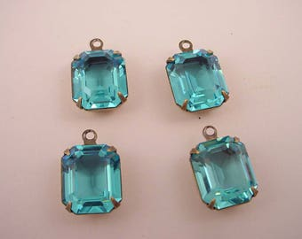 4 Vintage Glass Blue Topaz set  antique brass ox Prong  Octagon  Open Back Drop Charms 1 ring 12x10