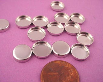 20 Silver Tone Round Bezel Cups 10mm High Wall