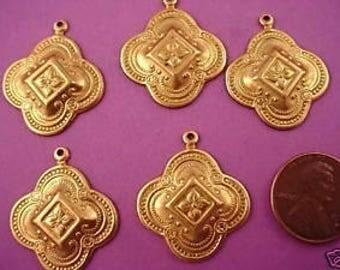6  brass moorish art nouveau medieval charms 26mm