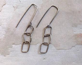 Geometric Earrings - Oxidized Sterling Silver Link Earrings - Simple Modern Earrings -Everyday Earrings -Metallic Earrings - Square Earrings