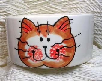Red Tabby Face Medium Cat Bowl Handmade Paw Prints Inside 20 Oz. Ceramic