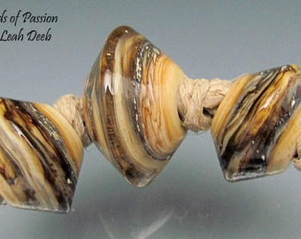 Glass Beads of Passion BHB Leah Deeb Lampwork - 3pc Lt Amber Crackle Big Holes