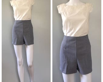 Blue and white plaid shorts Houndstooth print shorts highwaist shorts