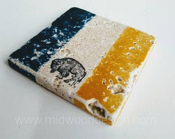 Buffalo NY pride blue and gold stone tile coasters set of 4