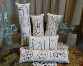 RESERVED for BECKY BALLARD Primitive Hand Stitched Winter Pillow Tucks
