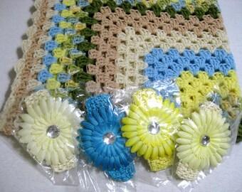 Handmade Crochet Baby Blanket Beach Colors and Coordinating Silk Flower Headband