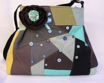 Crazy Patchwork-Bag-Blue-Gray -Brooch embellished Handbag -adjustable-Messenger -Shoulder Bag- BagZGirl