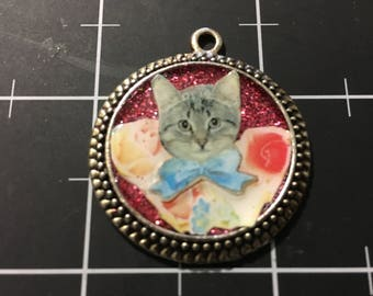 Tabby Cat in a Blue Bow Pendant, 50% Goes to the Current Selected Animal Protection Charity