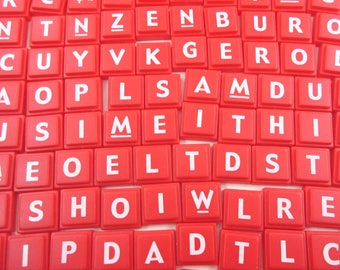 Scrabble Upwords Plastic Alphabet Letter Square Tiles Or Game Pieces Red with White Letters Set of 100