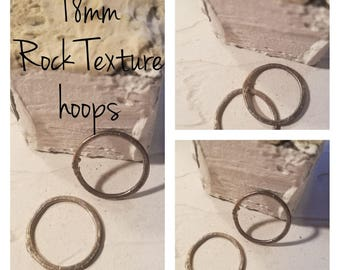 18 mm Sterling Rock Stone Texture Hoops