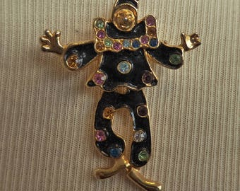 Vintage Enameled Rhinestone Trembler Clown Pin