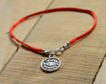 Against Evil Eye Amulet on Red String Bracelet