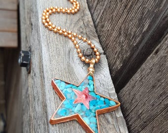 Turquoise Star Necklace - Sleeping Beauty Turquoise -  Copper Star - Copper Chain -Cowgirl Jewelry - Cowgirl Necklace by Heart of a Cowgirl