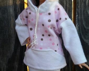 Barbie Hoodie White Polka Dot Pink Background Ready to Ship Barbie Clothes Curvy Barbie