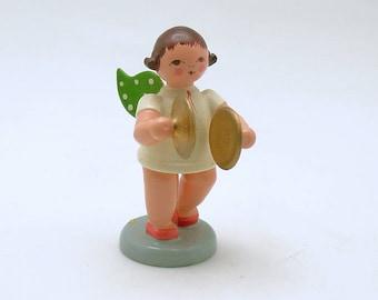 Vintage Christmas Wood Angel Figurine Wendt Kuhn Cymbals Germany