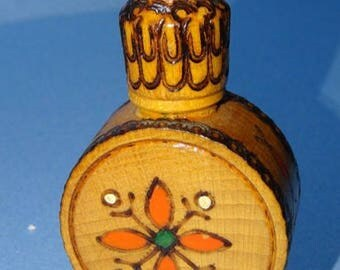 Vintage 1950s Handpainted Folk art European Bulgaria wooden perfume bottle