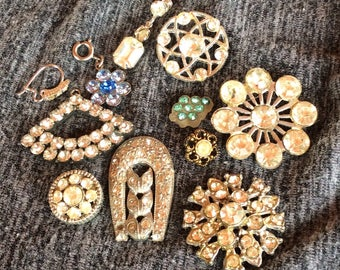 Rhinestone Buttons and Dangles - Clear and Colored Pieces