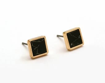 Black Imitation Marble Square Earring Post Finding  (EX203A)