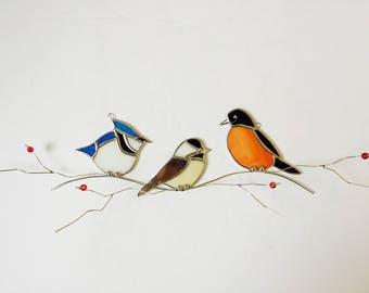 Favorite backyard birds Trio American Robin, Chickadee, Blue Jay on 3-D branch stained glass sun catcher