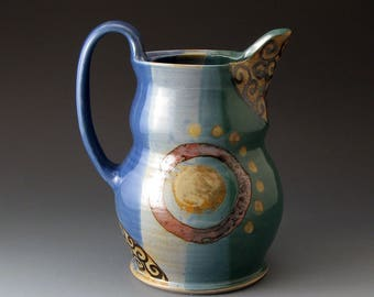 Ceramic Water Pitcher, Handcrafted Clay Pitcher, Blue and Green, Drinkware, Pitchers, Fine Art Ceramics