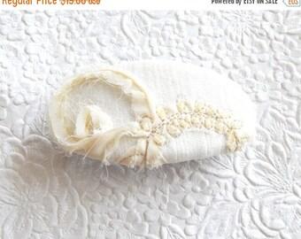 CLEARANCE - Ivory barrette, beaded barrette, floral barrette, fabric barrette, oval barrette, hair accessory, fashion accessory