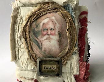 ONLINE CLASS Tutorial Instructional Handmade Fabric book class...Santa book