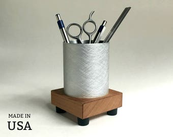 Office Organizer - Pencil Cup - Pen Holder - Metal and Recycled Wood - Modern Office Decor