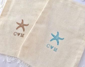 Beach Favor Bags, Personalized Starfish Bags, Beach Wedding Bags, Muslin Bags, SET OF 10