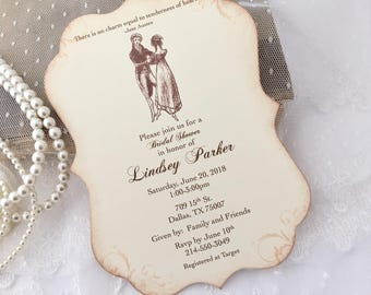 Jane Austen Invitations Jane Austen Bridal Shower Invites, Jane Austen Tea Party, Pride and Prejudice, Set of 10