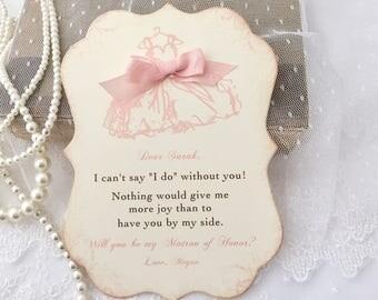 Matron of Honor Invitation, Matron of Honor Card, Will you be my Matron of Honor Card Card, Printed Invitation, Blush pink