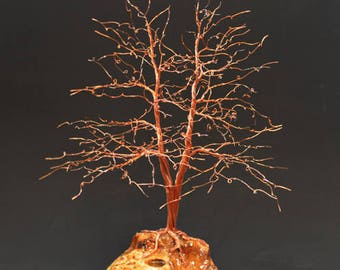Hand Twisted Metal Copper Wire Tree Art Sculpture  - 2331 - FREE SHIPPING