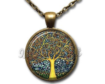 25% OFF - Tree of Life Mosaic Glass Dome Pendant or with Chain Link Necklace NT173