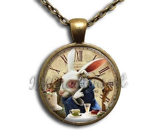 25% OFF - Alice In Wonderland It's Late Rabbit Glass Dome Pendant or with Chain Link Necklace AW115