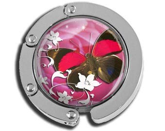 NEW just for this holiday season!! Foldable Bag Purse Hook - Butterfly in Pretty Pink FHK169