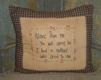Hand Stitched Pillow | Primitive Pillow | Homespun Border Pillow | Richer Than Me Pillow | Hand Crafted Pillow