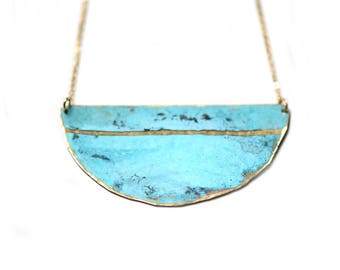 Patina Single Stripe Necklace - Minimal Beach Nautical Coastal Hammered Jewelry