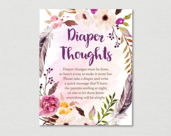 Boho Floral Diaper Thoughts Game / Boho Baby Shower / Watercolor Floral / Watercolor Feathers / Late Night Diapers / INSTANT DOWNLOAD A182