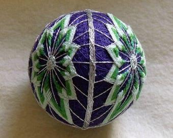 "4-1/2"" Diameter Purple - Green - Silver Japanese Temari Ball with Bell Inside - String Art - String Embroidery - Home Decor - Ball Decor"