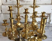 Vintage Brass Candlesticks - Cluster of 13 - Mixed Lot