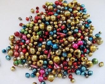 Vintage Mercury Glass Bead Assortment/ 1 Ounce / Glass Bead Mix/ Loose Glass Beads