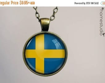 ON SALE - Sweden Flag : Glass Dome Necklace, Pendant or Keychain Key Ring. Gift Present metal round art photo jewelry by HomeStudio