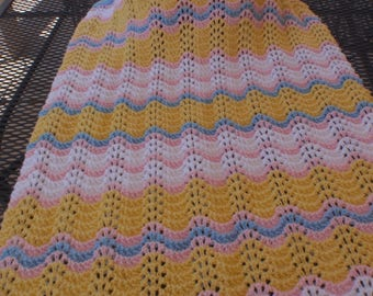 Knitted baby blanket, unisex baby blanket, gender neutral, fan and feather pattern, multi color baby blanket, bright colors, baby shower