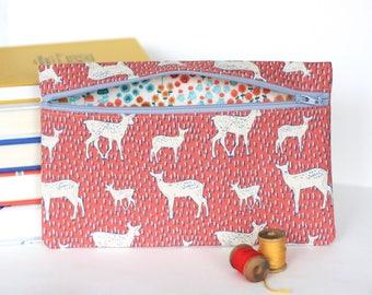 Pink Deer Pencil Bag Zipper Pouch