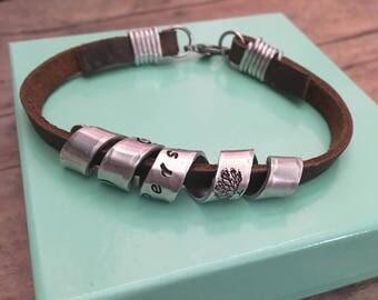 Mens Bracelet, Personalized Leather Bracelet, Hidden Message Bracelet, Gift for Father Husband Boyfriend Son, Secret Message Bracelet