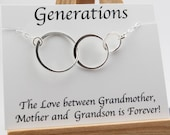 3 Generation Necklace Grandmother Necklace Gift 3 Generation Jewelry Family Necklace 3 Circle Necklace Future Grandma GrandSON Sterling
