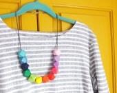 Rainbow Necklace, Geometric Necklace, Long Necklace, Hexagon Necklace, Colourful Jewellery, Rainbow Jewellery, Rainbow Gift